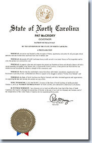 Patriot Outreach Day Proclamation N.C.